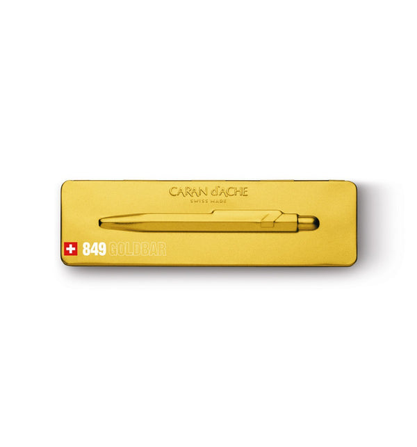 Caran D'Arche - Gold Bar Ballpoint Pen with Slim Metal Box - Lagom Design