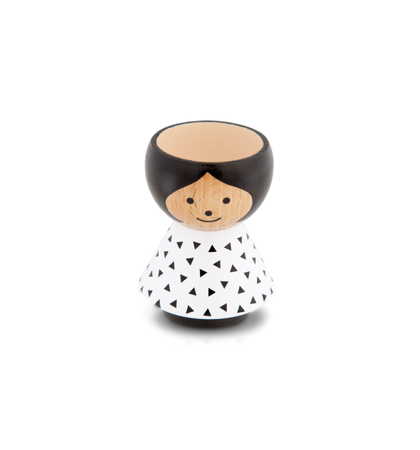 Black Triangles Girl Eggcup - Lagom Design
