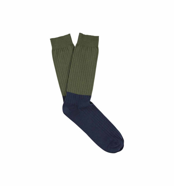 Colour Block Socks Olive Night / Dark Denim