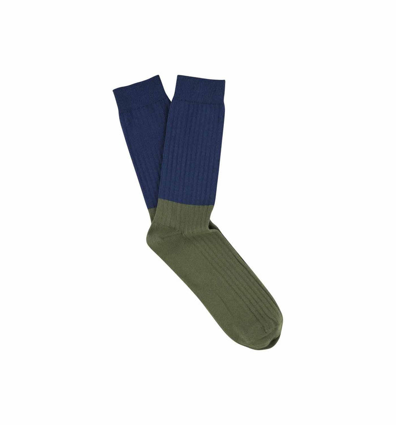 Colour Block Socks Blue Wing Teal / Olive Night