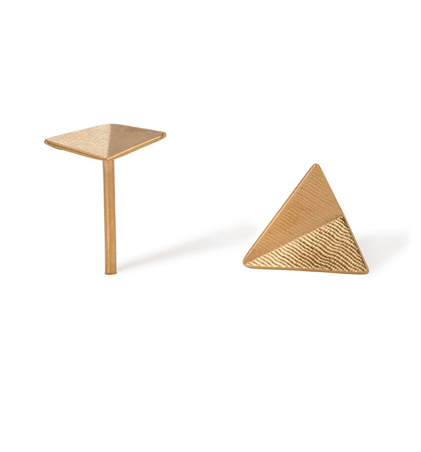 Point 4 Stud - Triangle Bent, Gold
