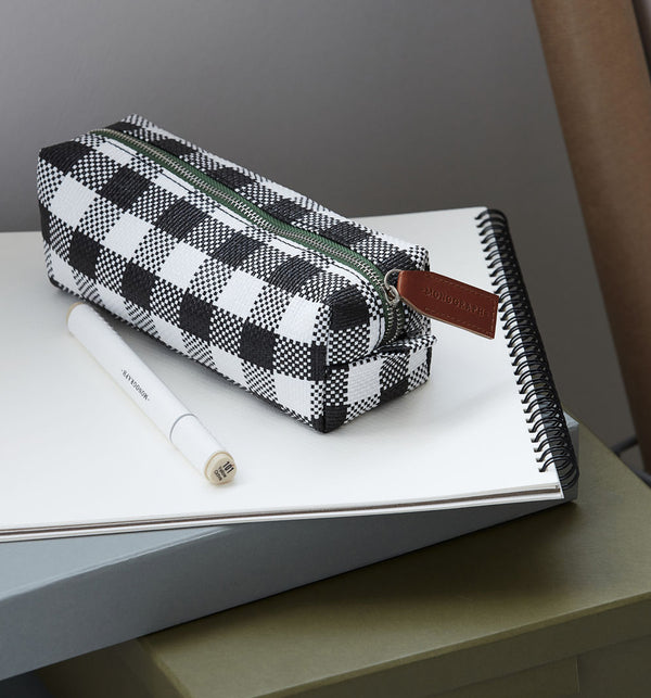 Pencil Case - Black & White Check