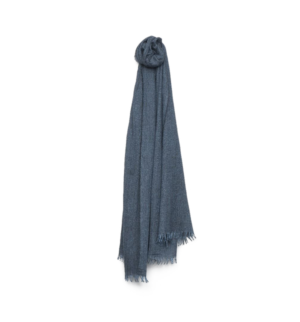 Staffa Cashmere Silk Scarf, Dark Denim