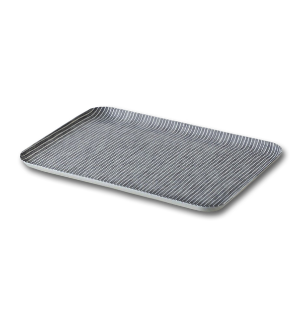 Linen Coated Tray - Grey and White Stripe, Large