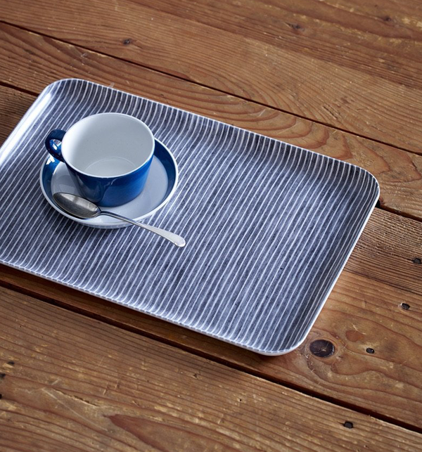Linen Coated Tray - Grey and White Stripe, Medium