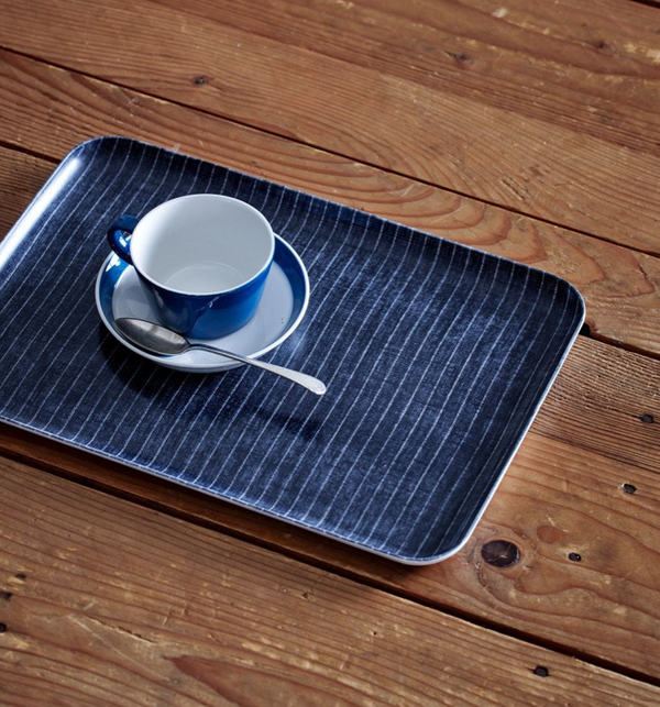 Linen Coated Tray - Dark Navy and White Stripe, Medium