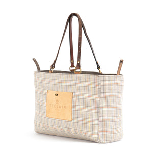 Tan White Plaid Alaro Tote Bag