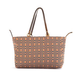 Tan/Orange Plaid Alaro Tote Bag