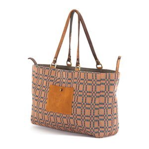 Tan Orange Plaid Alaro Tote Bag