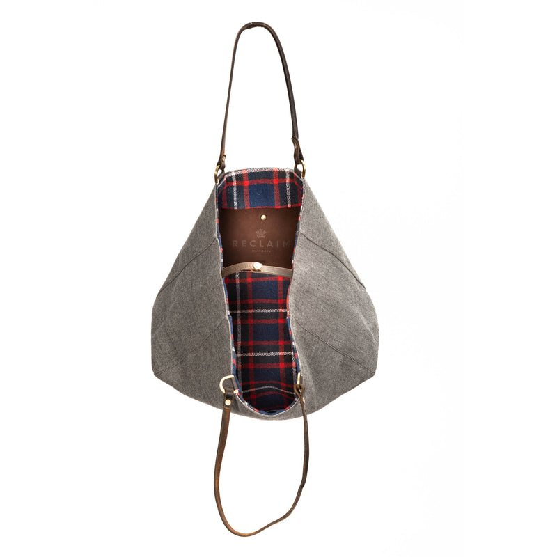 Grey Red/Blue Flannel Alaro Tote Bag