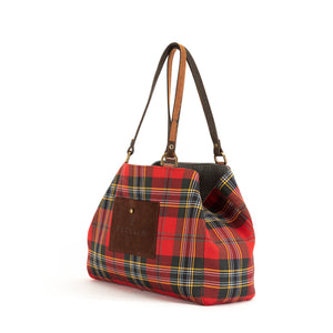 Grey Red/Black Flannel Alaro Tote Bag