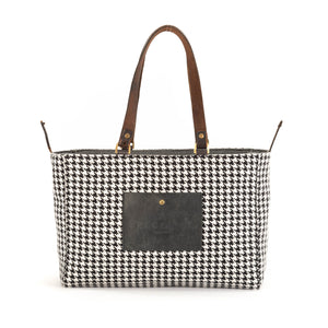 Grey Houndstooth Alaro Tote Bag