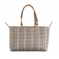 Tan Grey/Orange Plaid Alaro Tote Bag