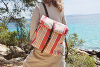 Red & Beige Stripes With Flower Lining Soller Rucksack