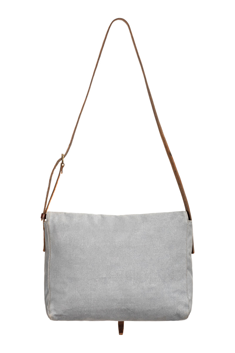 Grey Blue Stripe Caimari Messenger Bag