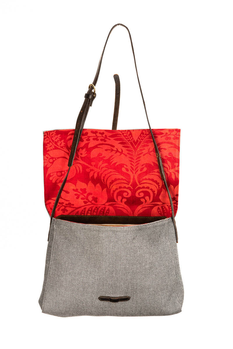 Grey Red Floral Caimari Messenger Bag