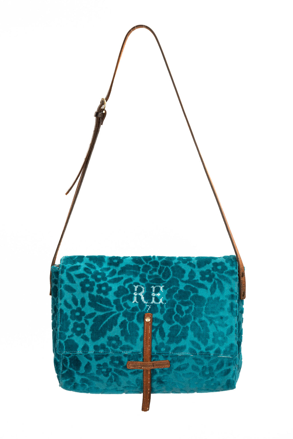 Teal Floral Caimari Messenger Bag