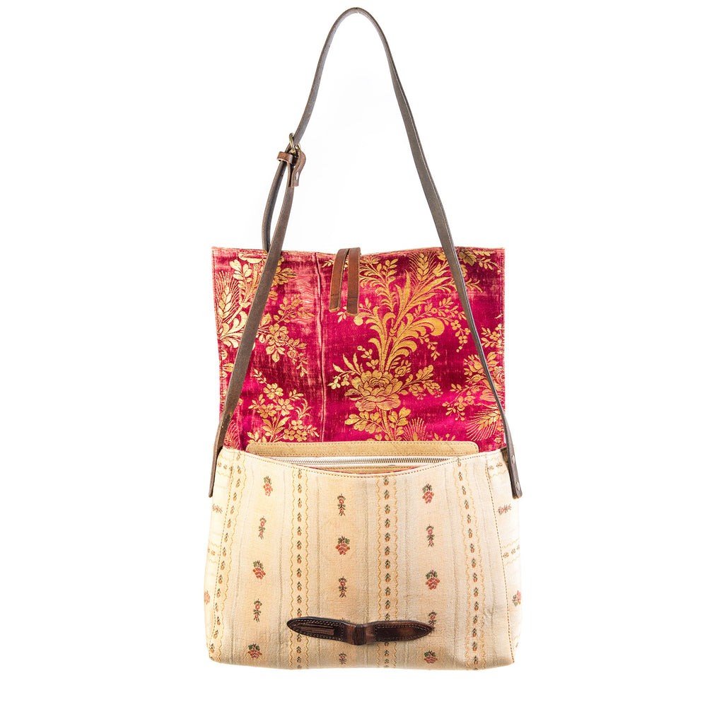 Tan Floral Caimari Messenger Bag