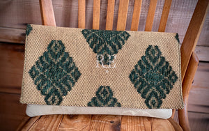 BINIALI Bespoke One-Of-A-Kind Green & Gold Herringbone Clutch with Damask Silk  Lining