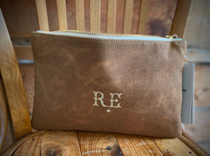 PETRA Bespoke One-Of-A-Kind Brown Waxed Canvas Clutch With Butterfly Weave & Damask Silk