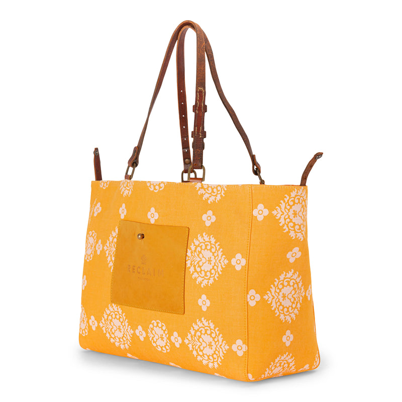 Orange Floral Orient Tote Bag