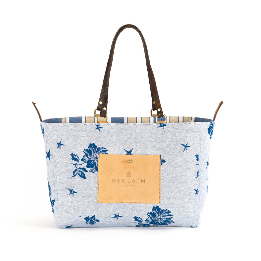 Blue Yellow Floral Orient Tote Bag