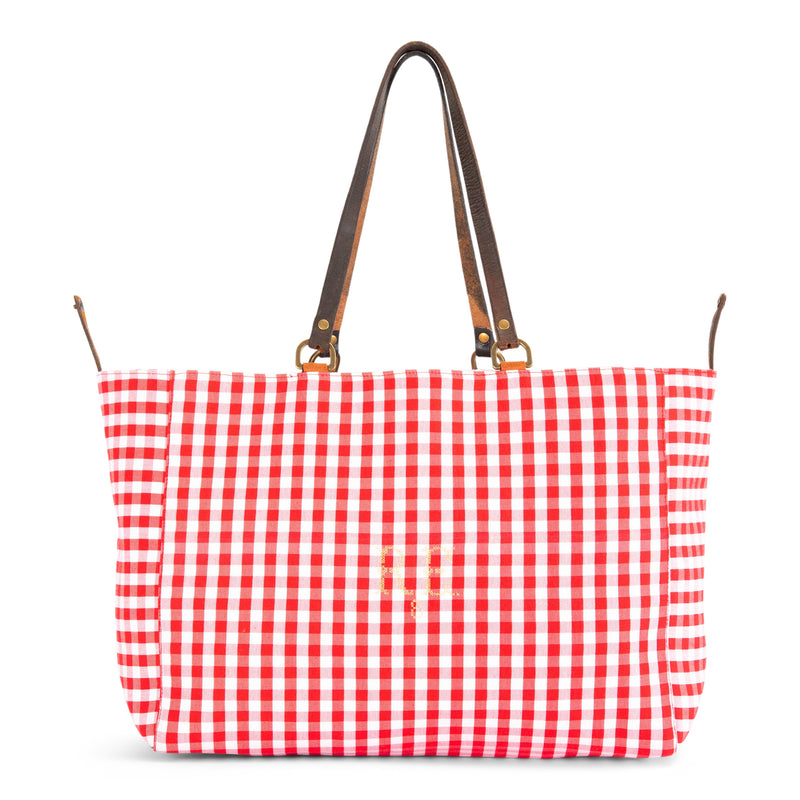 Red Check Orient Tote Bag