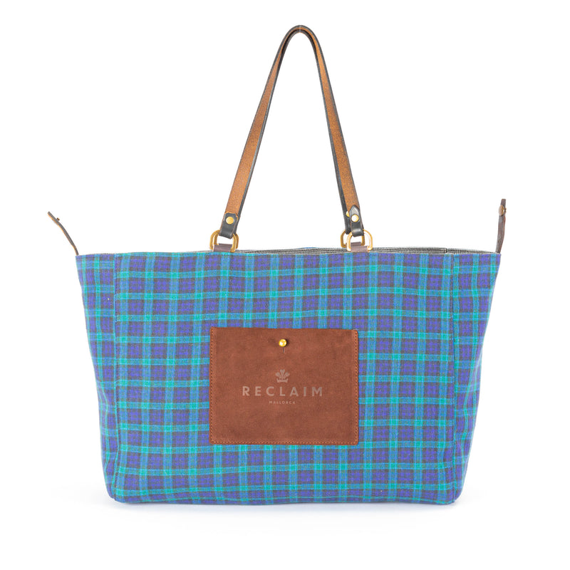 Grey/Blue Plaid Orient Tote Bag