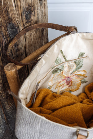 Orient Grey Wool & Flower Embroidered Silk Tote Bag