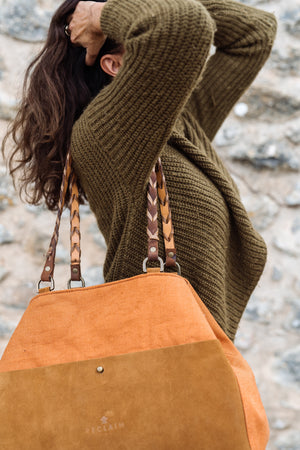 Burnt Orange & Brown Striped Orient Tote Bag