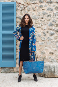 Blue Damask Silk & African Patterned  Orient Tote Bag