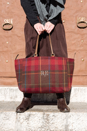 Bespoke One-Of-A-Kind Burgundy, Gold & Blue Check, Wool Orient Tote Bag