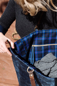 Bespoke One-Of-A-Kind Blue Velour & Blue,Red & Charcoal Check Wool Reversible Orient Tote Bag