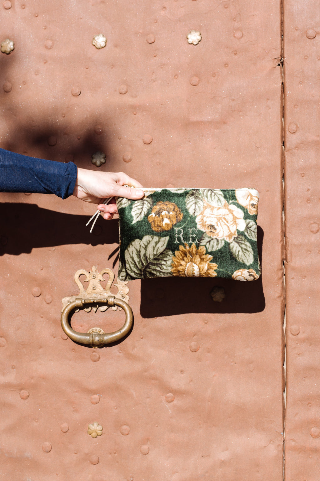 PETRA Bespoke One-Of-A-Kind  Green Flowered Velvet & Gold Herrringbone Clutch