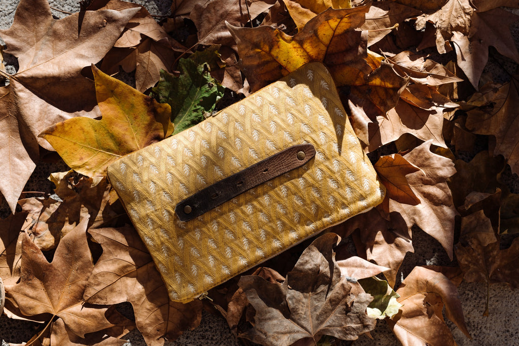 PETRA Bespoke One-Of-A-Kind Gold Velvet & Woven Fern Silk Clutch