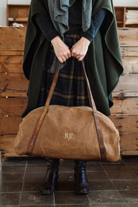 Bespoke, One-Of-A-Kind, Brown Canvas & Green Damask Silk Deia Weekend Bag