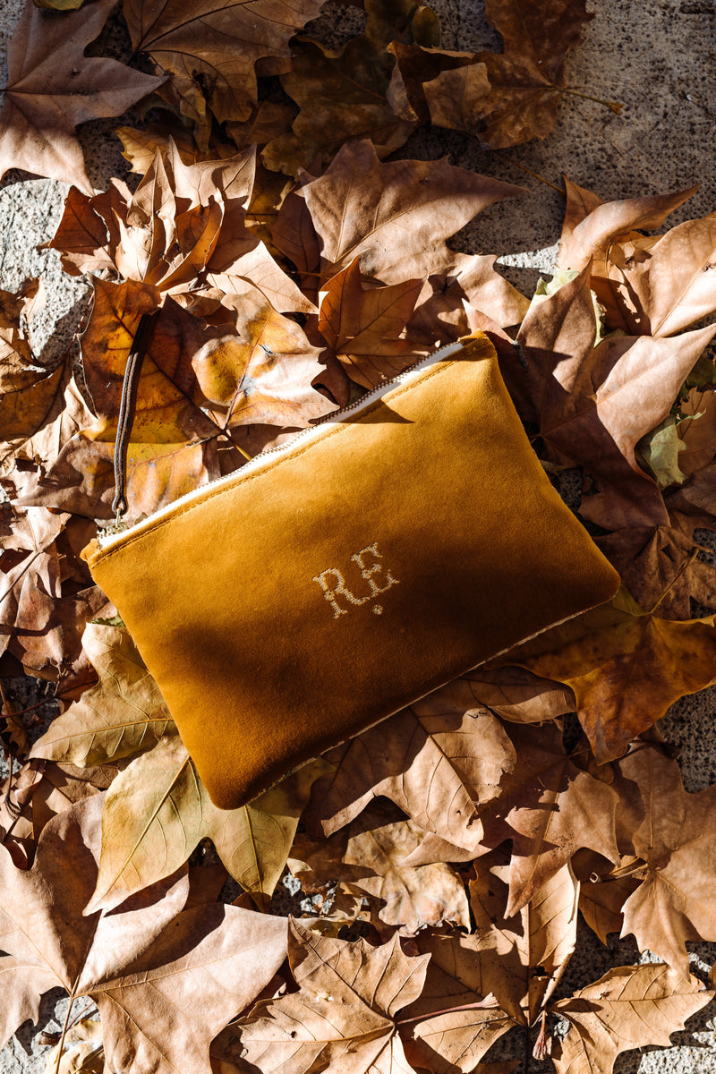 PETRA Bespoke One-Of-A-Kind  Gold Velvet & Silk Woven Flowers Clutch