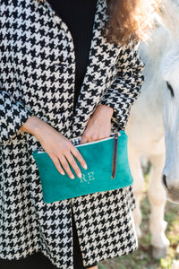 PETRA Houndstooth, Gingham & Turquoise Clutch