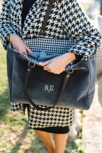 Charcoal Grey Velvet & Black & White Houndstooth Check Wool Orient Tote Bag