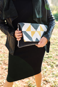 BINIALI Geometric Pattern Clutch With Charcoal Velvet  Interior