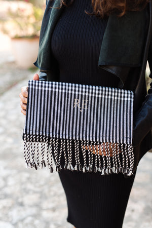 BINIALI Black & White  Clutch With Charcoal Velvet  Interior