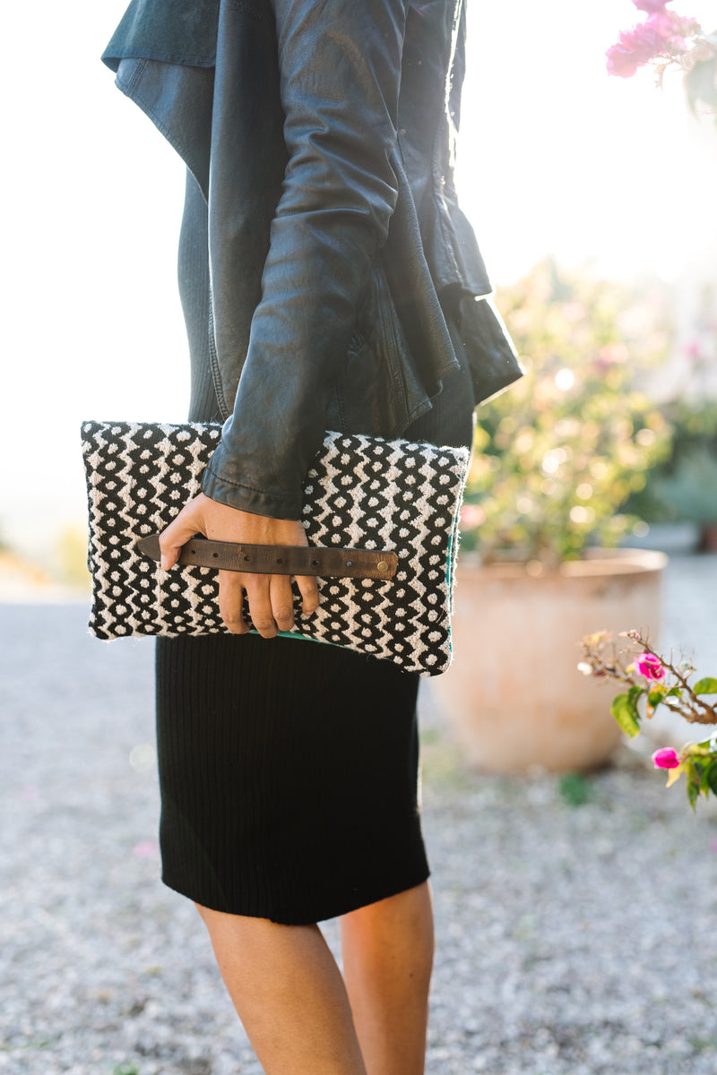 BINIALI Black, White & Turquoise Clutch with Black & White Gingham Interior
