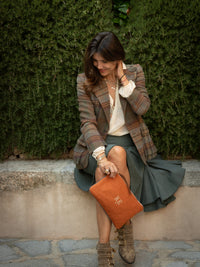PETRA Burnt Orange & Tweed Clutch