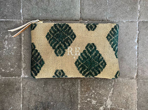 PETRA Bespoke One-Of-A-Kind Green & Gold Herrringbone Clutch