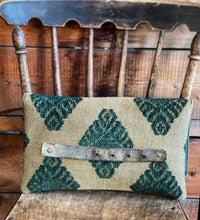 BINIALI Bespoke One-Of-A-Kind Suede, Green & Gold Herringbone Clutch with Green Check Linen  Lining