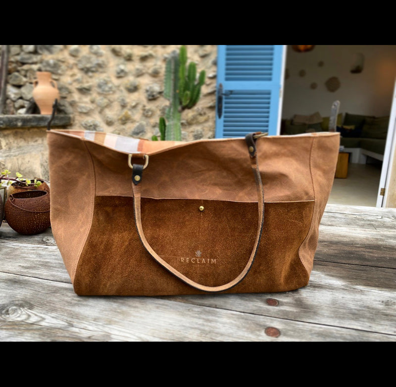 Brown Canvas & Multicolour Stripe Orient Tote Bag