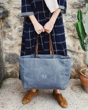Recycled Waxed Canvas Tote Bag