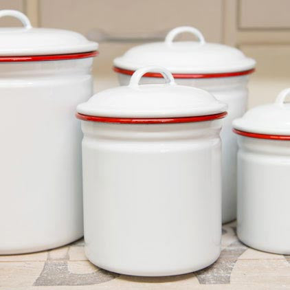 Crow Canyon Home ~ Enamelware ~ Canister Set, 4 Piece
