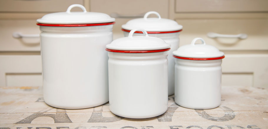 Crow Canyon Home~Enamelware~Canister Set, 4 Piece