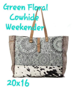 Myra Green Floral Weekender With Hide